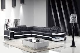 ultra modern black leather with white outlinee sectional sofa with console optional armelss chair is available 23