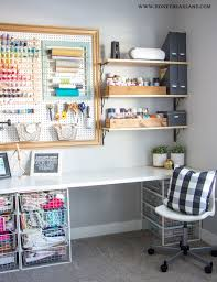 craft room office. I Hung The Shelves And Used Some Wood Boxes Had To Store My Paint Ribbons Such. Intention Of Painting White But Craft Room Office
