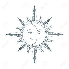 ビンテージ スタイルの手描きの太陽と月 錬金術シンボルですタトゥー