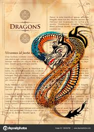 furious dragon drawing on old vine book page stock vector