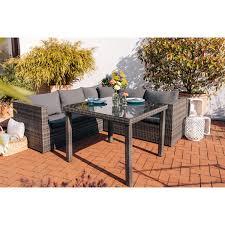 Esstisch Lounge Gruppe Tuscola Polyrattan Grau 3 Teilig Kaufen Bei Obi