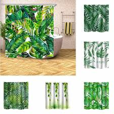 details about waterproof polyester bathroom shower curtain tropical plants green leaves print