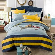 kids royal blue yellow and light blue great white shark ocean themed twin full size bedding sets