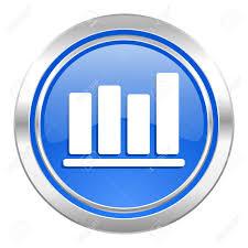 Bar Chart Icon Blue Button