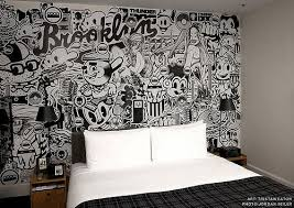 one of the illustration wall at ace hotel ny on graffiti wall art bedroom with 214 best art images on pinterest bedroom table lamps design