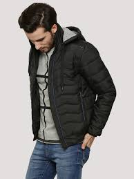 Buy Hooded Quilted Jacket With Shoulder PU Patch For Men - Men's ... & Buy Hooded Quilted Jacket With Shoulder PU Patch For Men - Men's Black  Jackets Online in India Adamdwight.com
