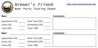 wine rating sheet beer tasting sheet party printout brewers friend