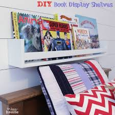 diy book display shelves on wall at the happy housie