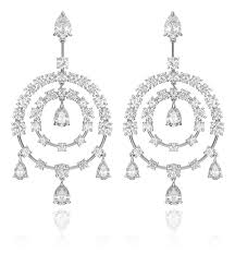 diamond and 18kt white gold chandelier style earrings