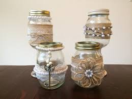 Decorating With Mason Jars And Burlap Shabby Chic Mason Jars decorated with Burlap Lace and Pearls for 28