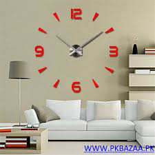 Small Picture design 3D Big Acrylic Mirror Wall Clocks for sale in pakistan