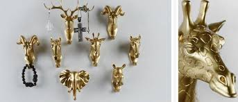 gold coat hooks.  Hooks Rural Style Fashion Resin Gold Animal Head Clothes Hanging Coat Towels Hooks  Hanger Decorative Wall With G