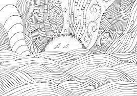 太陽と海と黒と白のファンタジー画像ビーチの風景です大人の塗り絵の
