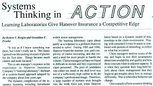 the systems thinker learning laboratories give hanover insurance a competitive edge the systems thinker