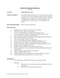 Medical Records Job Description Resume Medical Records Clerk Resume Template Sample Analyst Supervisor 1