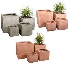 Fibre Clay Fibrecotta Cube Planter Garden Plant Pot Outdoor Patio Square  Tub Box