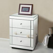 mirrorred furniture. foxhunter mirrored furniture glass 3 drawer bedside cabinet table bedroom mbc05 mirrorred