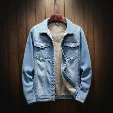 Autumn and <b>Winter Plus</b> Velvet Denim Jacket Men's Denim Jacket ...