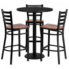 table and bar stools. 30\u0027\u0027 round mahogany table set with 3 grid back metal bar stools and s