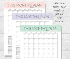Monthly Calendar Schedule Undated Monthly Planner Printable Monthly Calendar Organizer