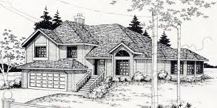 House front color elevation view for 7117 split level house plans house plans for sloping