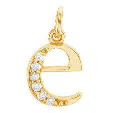 lowercase initial diamond e 14k yellow gold pendant