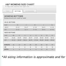 Abercrombie And Fitch Jeans Size Chart Best Picture Of
