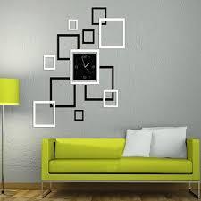 diy mirror wall clock sticker modern frame sticker home decoration