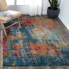 blue white and yellow area rugs celestial rug 5 3 x 7 on