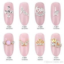 gold crown rhinestone nail alloy 3d nail art charms cross angle wing design decorations supplies whole y364 y371 acrylic nail supplies airbrush nails