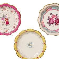 Alice In Wonderland Style Vintage Floral Paper Plates Pink Blue