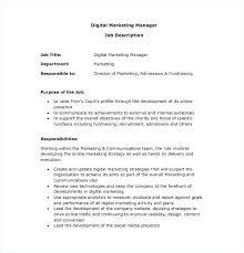 Marketing Officer Job Description Adorable Job Descriptions For Marketing Manager M Kindredsoulsus