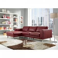 anika red full top grain leather sectional sofa