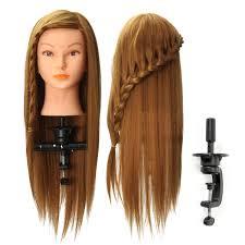 20 Lange Haar Mannequin Manikin Training Salon Kopf Modell Frisur Kosmetik Mit Klemme Halter