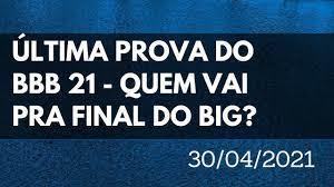 PROVA Final BBB 21 Quem vai ganhar? Última Prova do BBB21 AO VIVO -  Seguidores Instagram Tempo Real - YouTube
