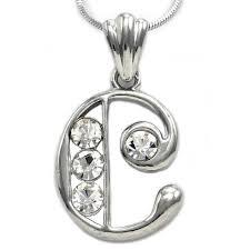 details about alphabet initial letter c pendant necklace charm silver tone teen las jewelry