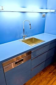 blue kitchen countertop and sink corian lighting himacs d