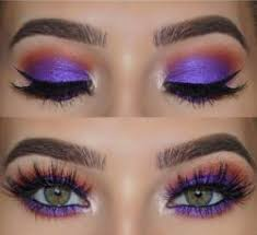 purple and orange eyes makeup