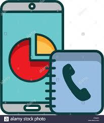 Smartphone Report Chart Address Book Telephone Vector