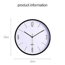 home office room modern metal frame silent battery operated 12 inch round decorative wall quartz clock