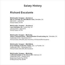 Fresh Salary History Template Hourly Resume Salary History Example