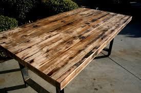 rustic diy custom butcher block desk top made from reclaimed wood and black metal base ideas