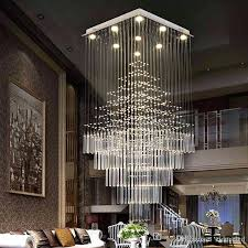 crystal chandelier modern led rectangular crystal chandelier lamps stairs hanging pendant lamps fixtures for villa hotel mall with chandelier table lamp