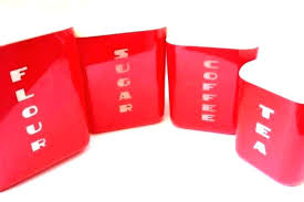 red kitchen canisters ceramic square and white modern storage containers can