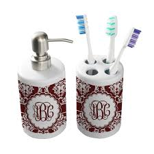Maroon Bathroom Accessories Maroon White Bathroom Accessories Set Ceramic Personalized