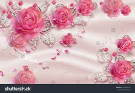 3d Wallpaper Design Jewels Roses ...