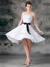 knee length chiffon a line wedding dress with bow sash