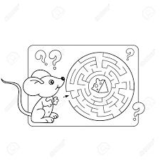 幼児の教育迷路や迷宮ゲームの漫画ベクトルの例パズルぬりえページ概要のチーズを少しマウスします子