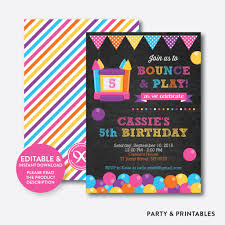 bounce house pink chalkboard kids birthday invitation editable bounce house pink chalkboard kids birthday invitation editable instant ckb 132