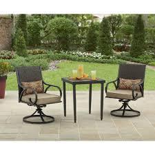 3 piece patio furniture bistro set outdoor wicker swivel rocking inside 3 piece patio furniture set for aspiration